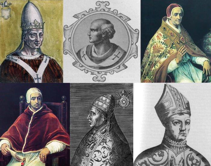 Alcuni Antipapi storici: Giovanni XVI (997 DC-999 DC); Benedetto X (1058-1059); Clemente VII (1378-1394); Benedetto XIII (1394-1423); Alessandro V (1409-1410); Giovanni XXIII primo (1410-1415).
