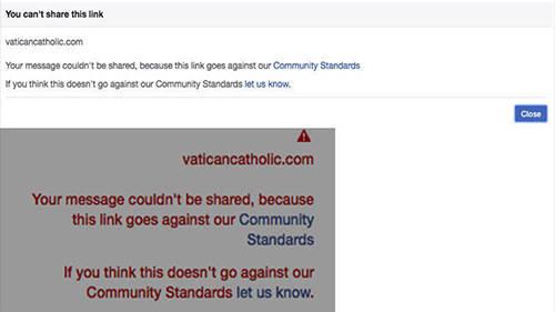 Facebook ed Instagram bloccano collegamenti a www.vaticancatholic.com