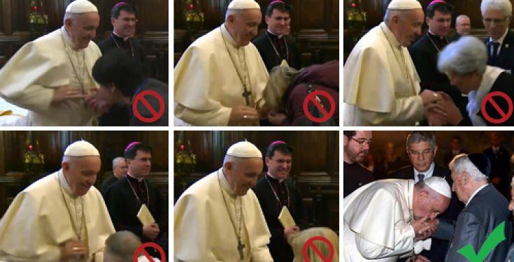 Bergoglio ritira la mano per il bacio dell'anello Papale